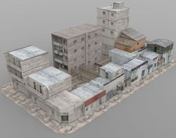 realtime shanty town buildings 2 city blocks a b c rigged 3d asset