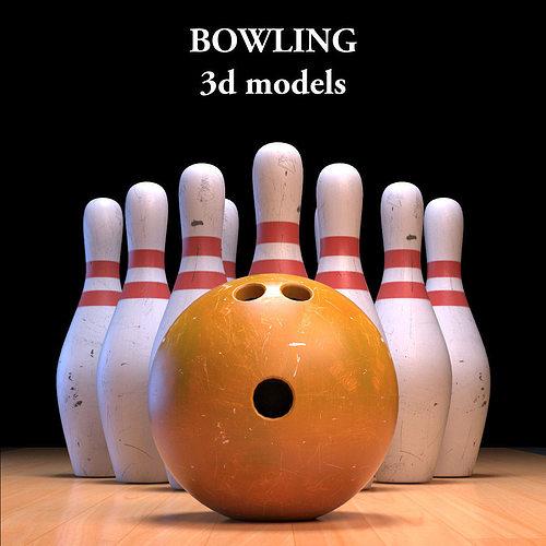 bowling ball and pins 3d model max obj mtl fbx 1