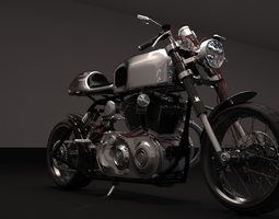 3D Cafer racer chrome motocycle