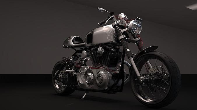 cafer racer chrome motocycle 3d model max obj mtl fbx 1