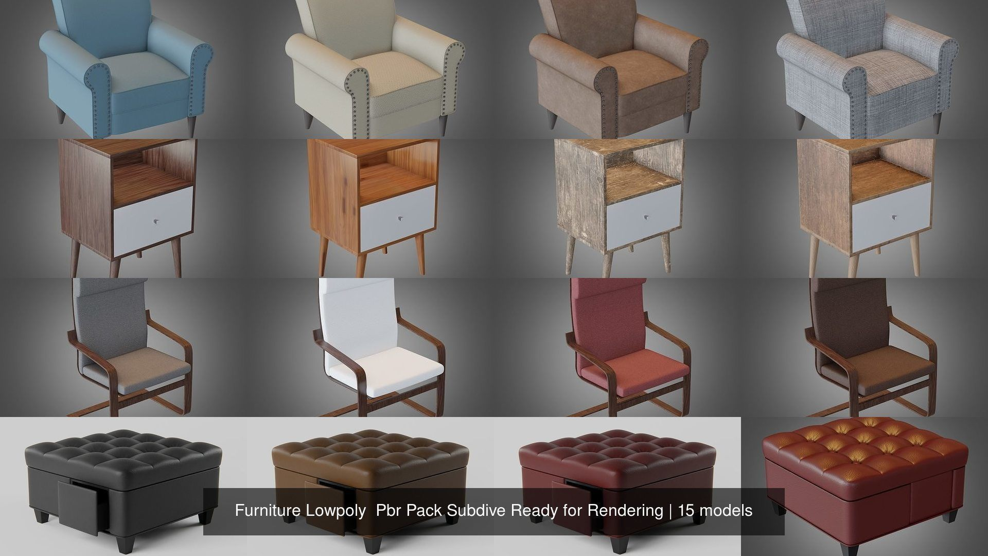Furniture Lowpoly  Pbr Pack Subdive Ready for Rendering