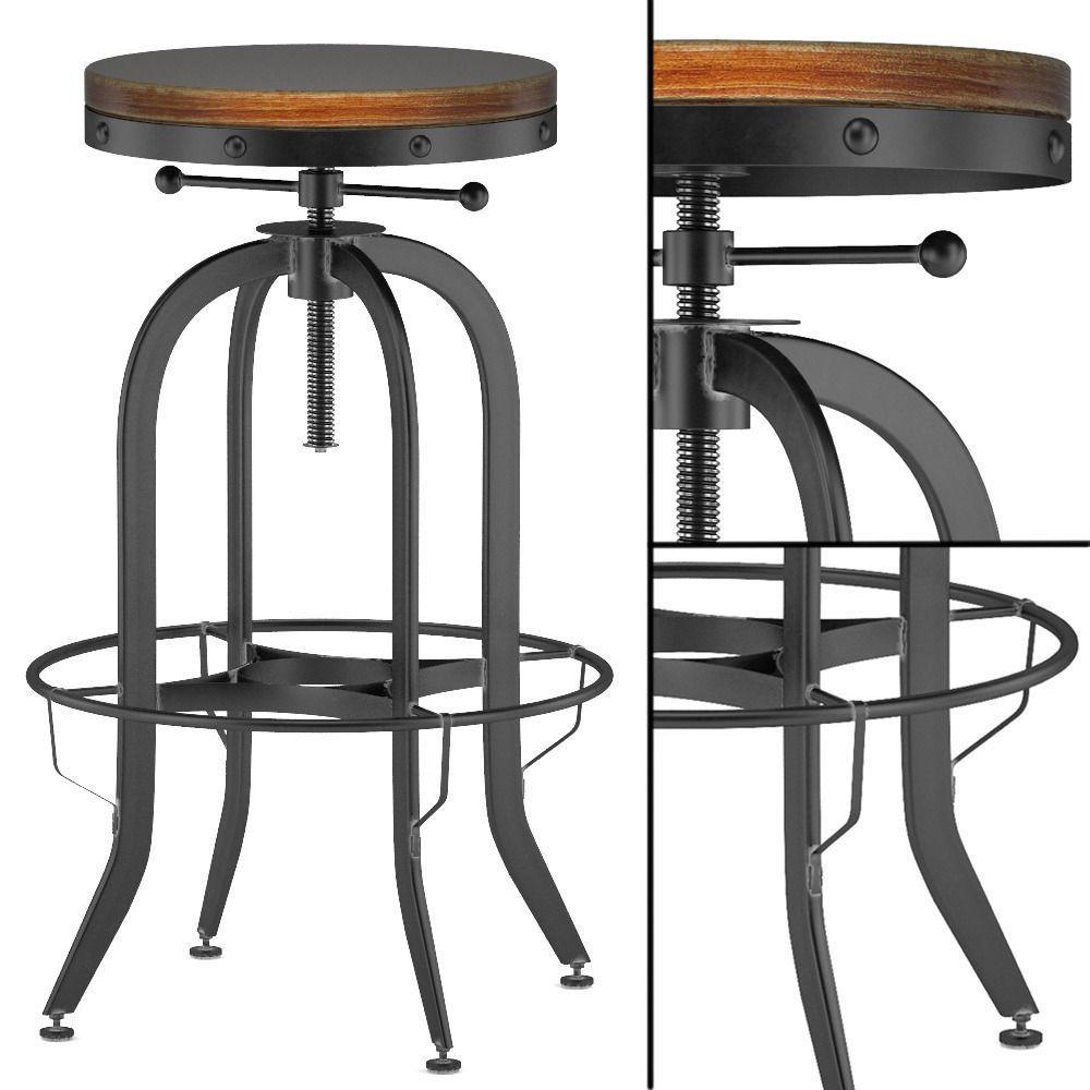 Industrial Vintage Bar Stool Black 3d Model Cgtrader