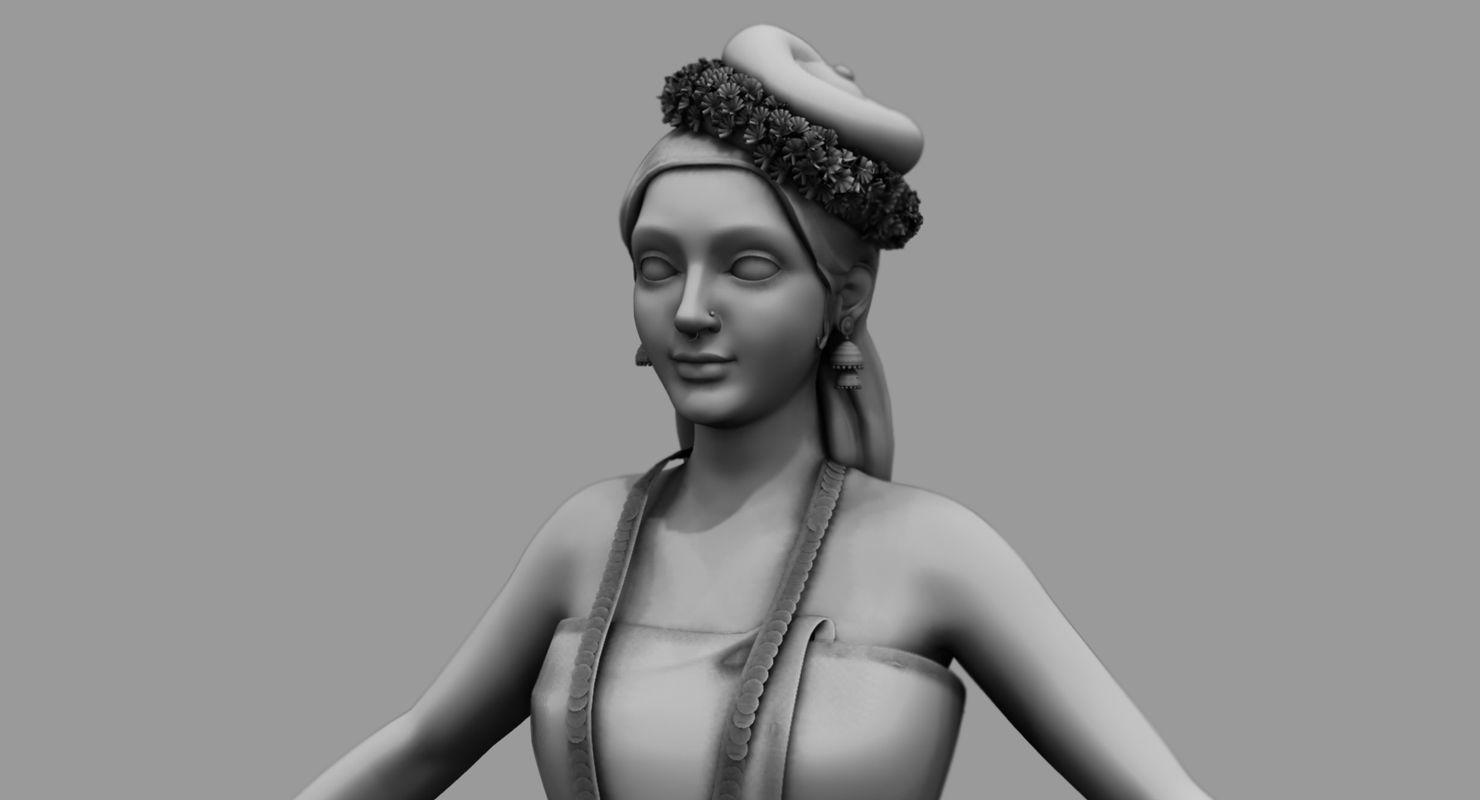 india kerala girl 3d model