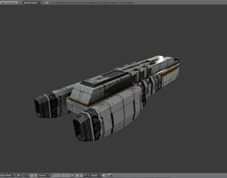 realtime 3d model sci-fi freighter