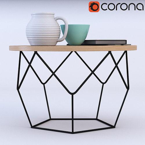 west elm origami coffee table 3d model max obj fbx mtl