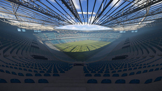 low poly video game ready premier football stadium 3d model fbx ma mb 1
