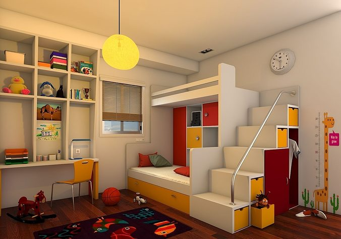 Wonderful Kids BedRoom 3D Model Amazing Pictures