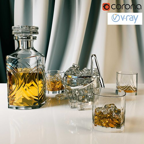 whiskey set with bucket for ice 3d model max obj 3ds fbx mtl 1