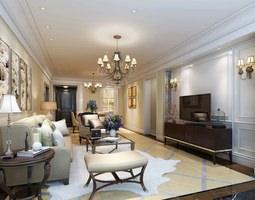 Light Modern Living Room 3D model