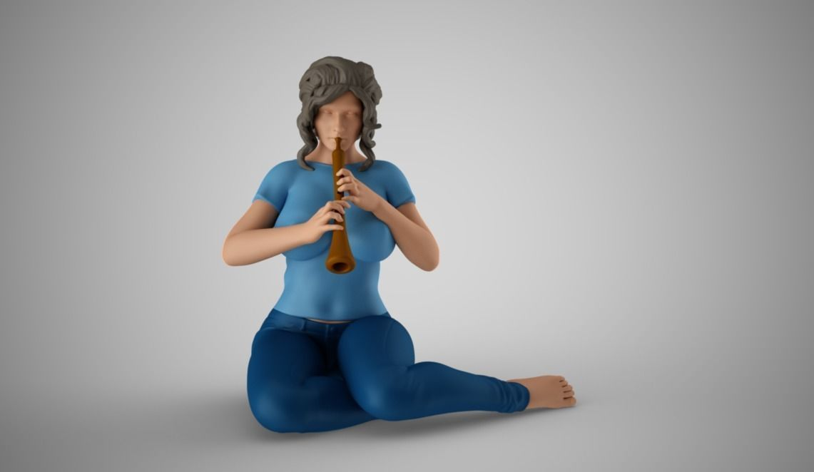 Woman Playing the Wind Instrument