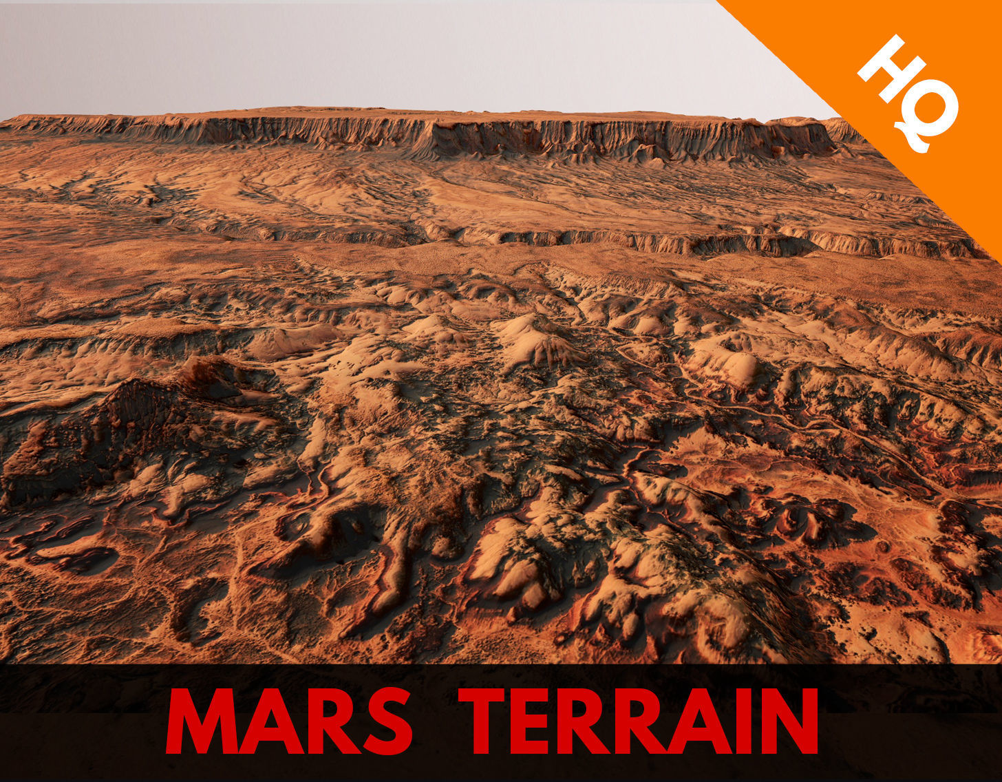 Mars Planet Landscape Desert Terrain Valley 10x10km PBR 02