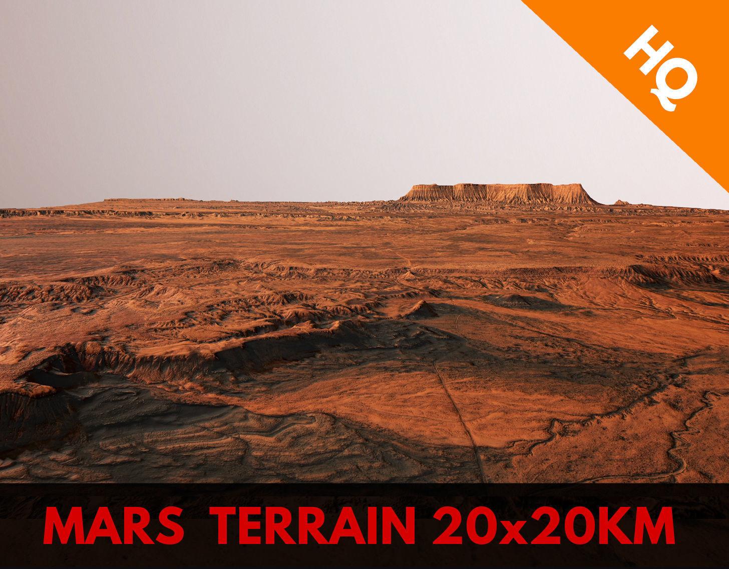 Mars Planet Landscape 20x20km Desert Terrain Valley PBR
