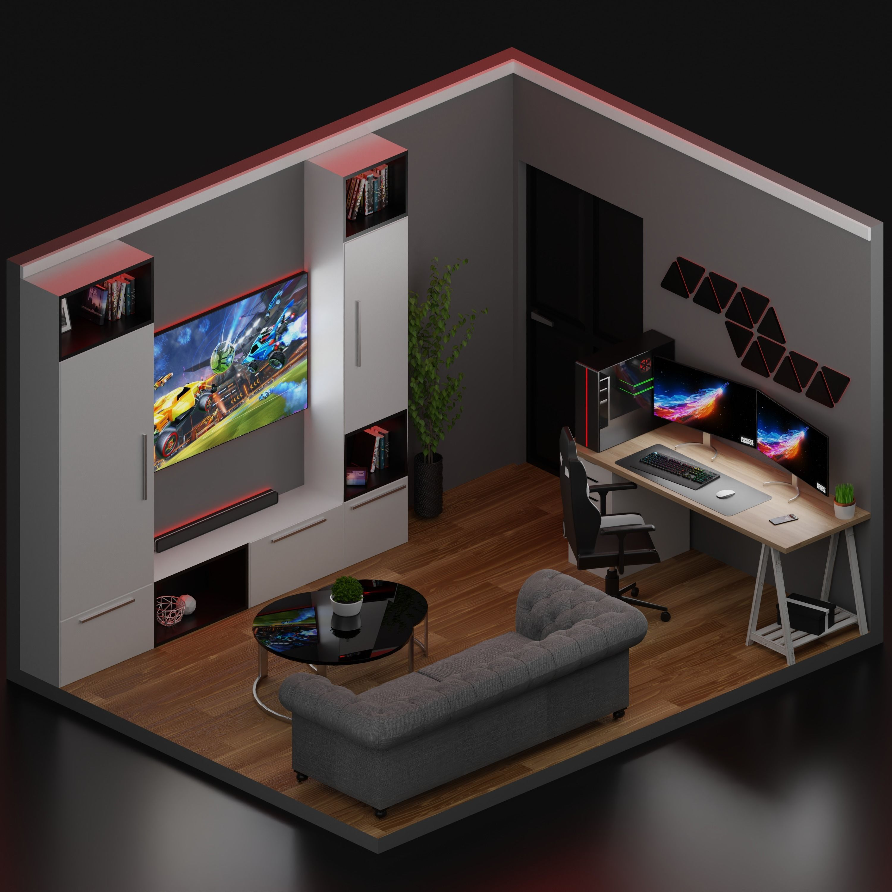 Realistick Low Poly Gaming Room Design 3d Asset Cgtrader