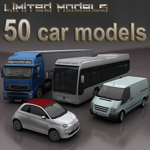 cars mega pack 50 items 3d models 3d model low-poly max fbx tga 1