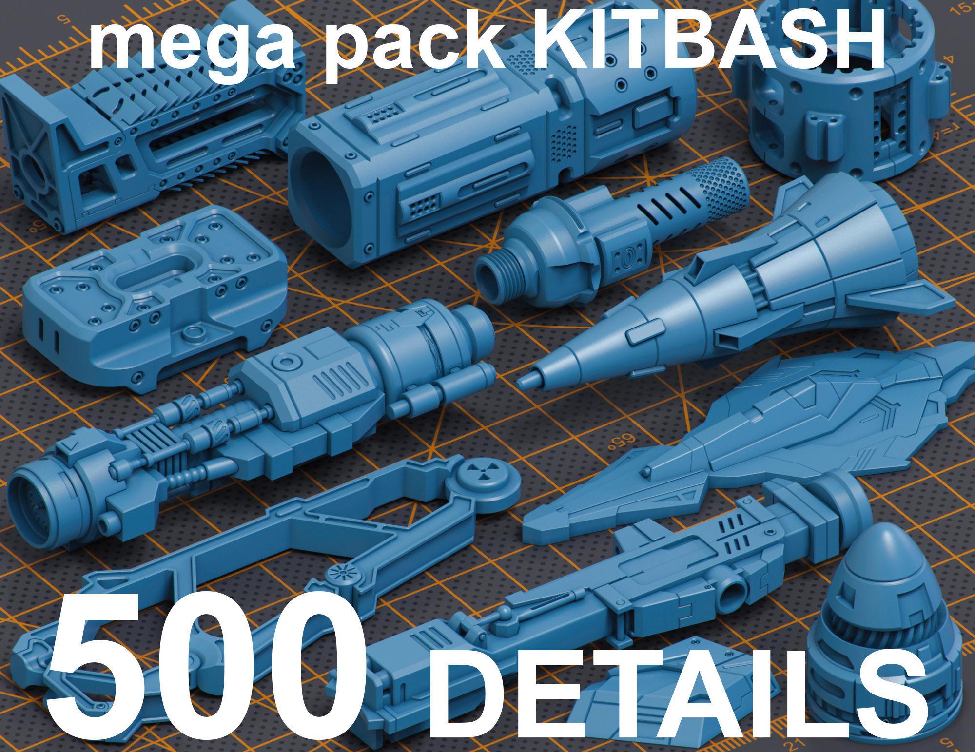 Mega Pack Hard Surface Kitbash 500 DETAILS