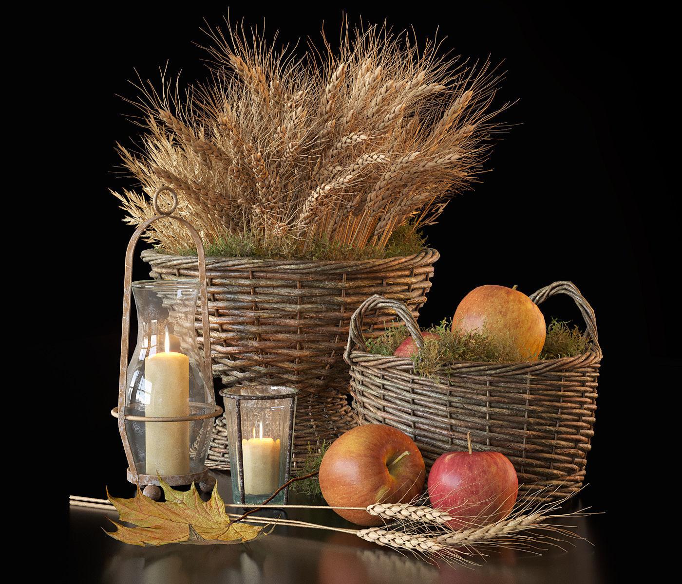 Decorative set with baskets