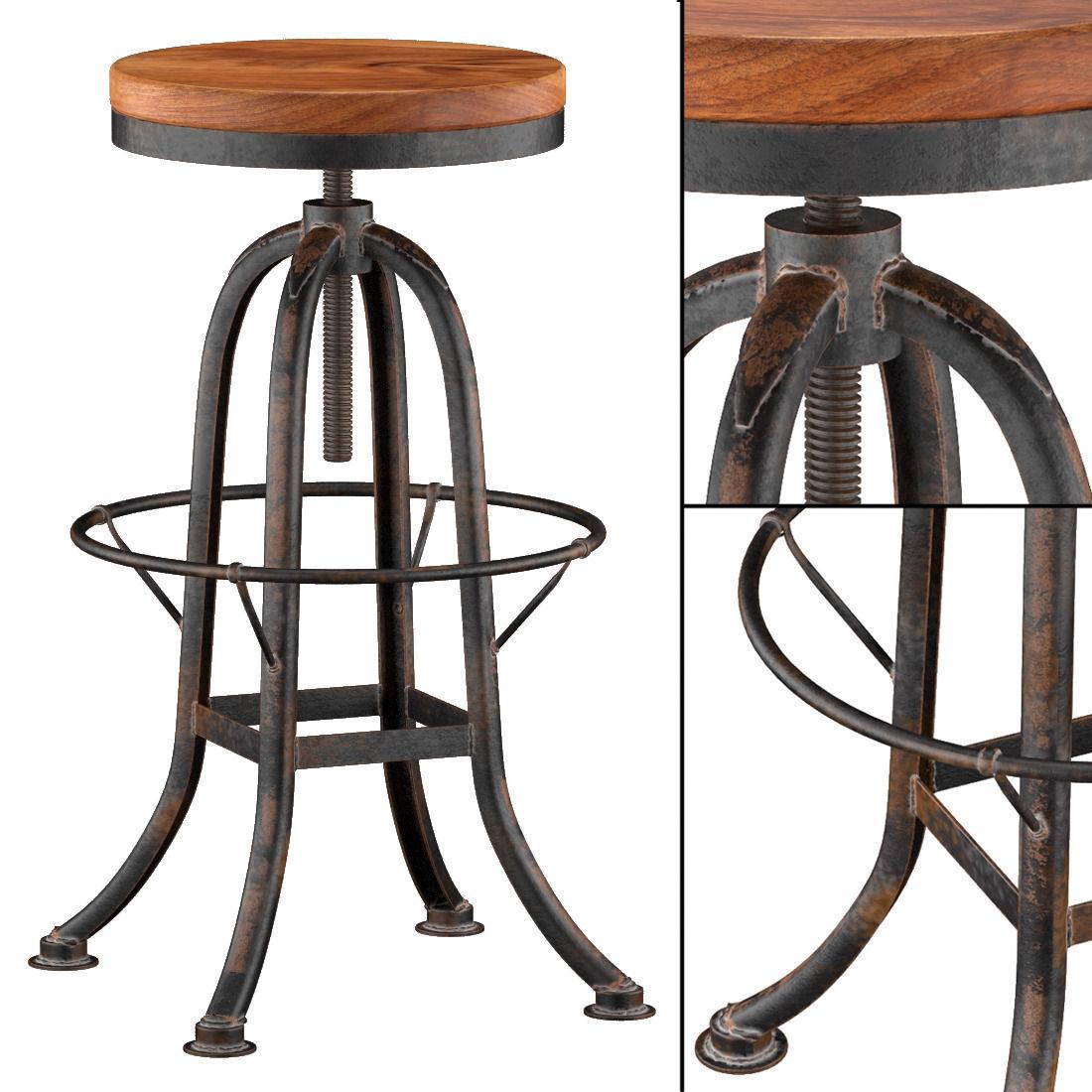 Oleg Loft Iron Base Reclaimed Wood Bar Counter Stool Model
