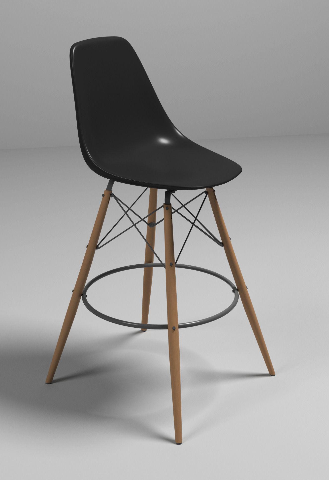 Superieur Eames Bar Chair 3d Model Max Obj 3ds Fbx Mtl 1 ...