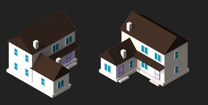 3d Model 2d Isometric Buildings Cgtrader