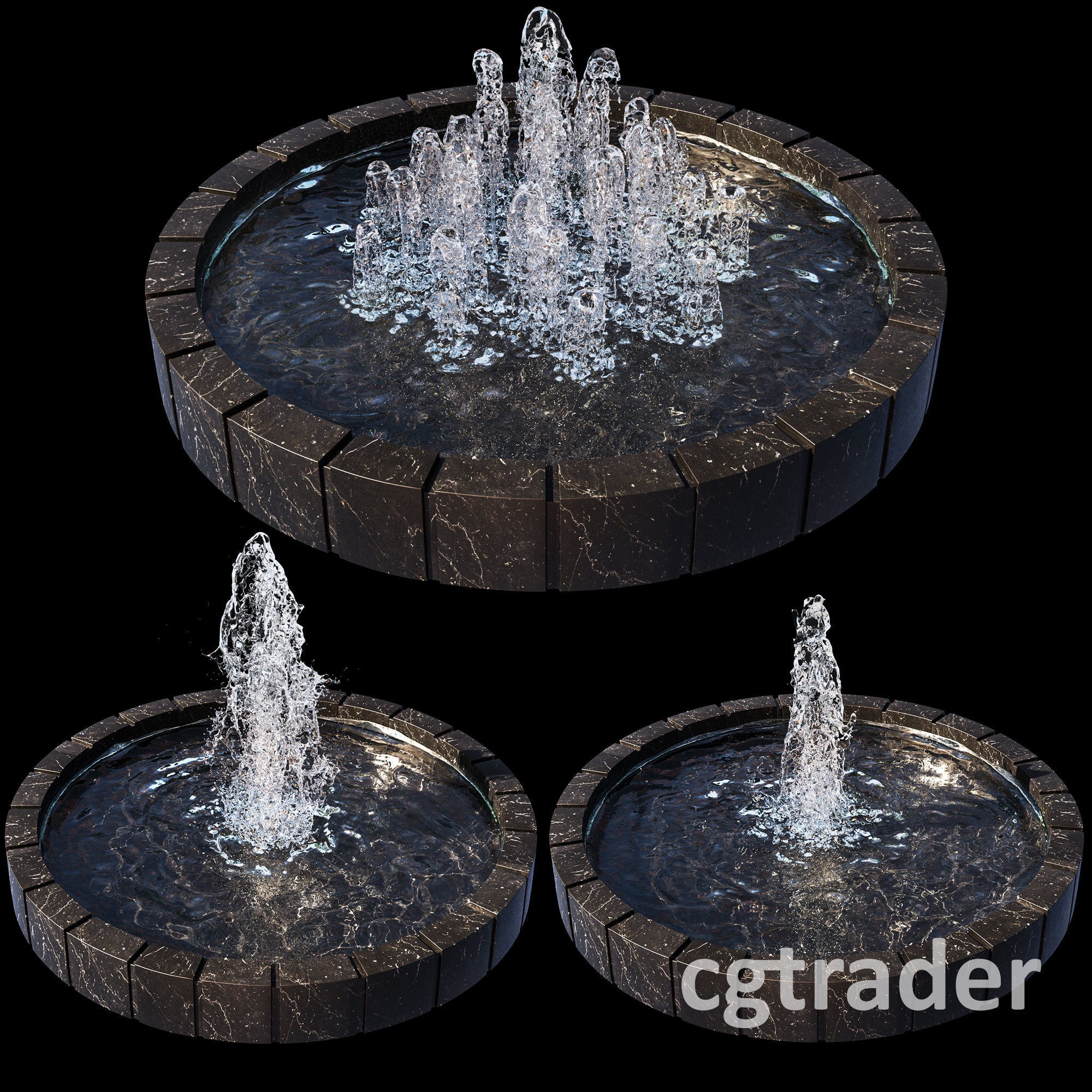 3 large water Fountains