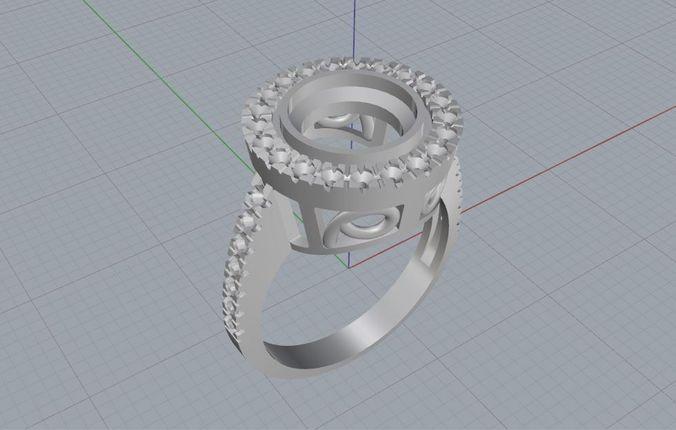 Ruby Ring 3D Model 3D printable .stl