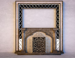 3d classical marble fireplace with mirror