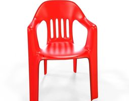 3D model VR / AR ready plastic chair