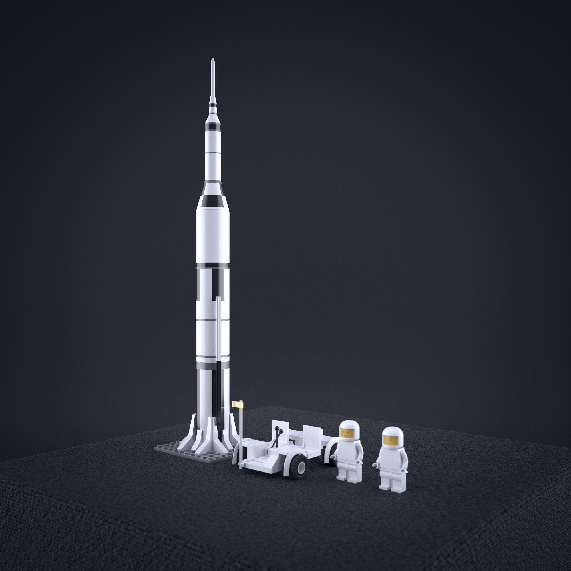Lego Nasa Apollo Saturn Rocket with moon vehicel and astronauts