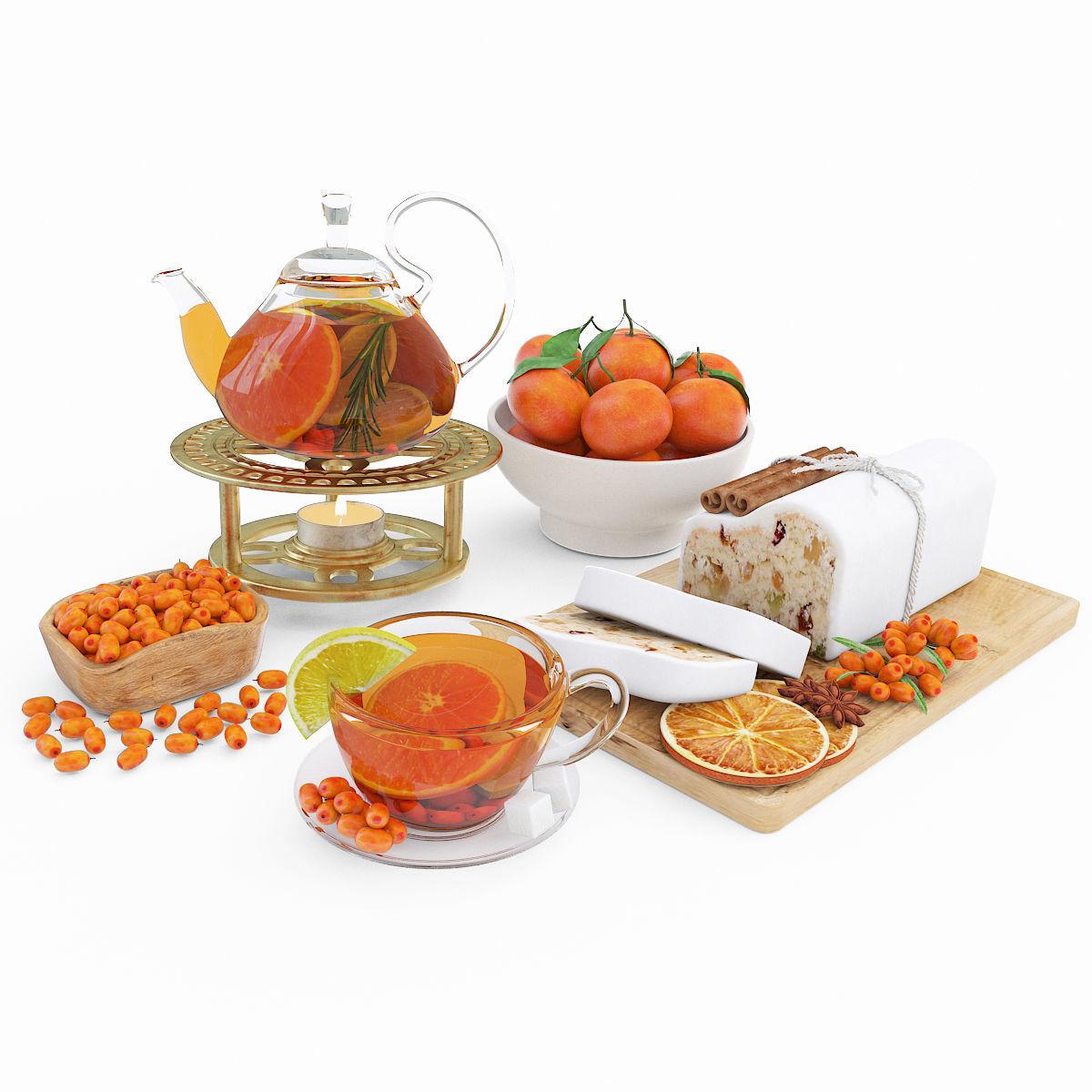 Fruit tea and tangerines