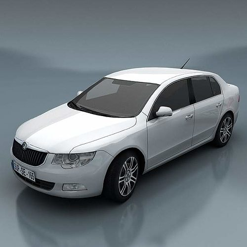 skoda superb 3d model low-poly max fbx 1