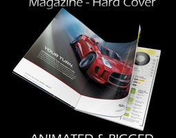 Magazine Hard Cover Opening Rigged Animated 3D Model