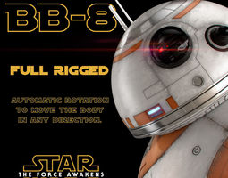 3d animated bb-8 star wars droid full rigged