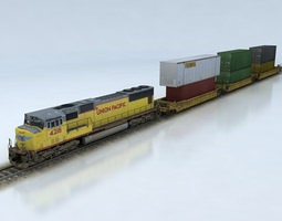 double stack shipping container train set sd70m realtime 3d asset