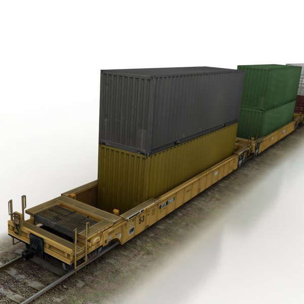 Truck Trader Online >> Double Stack Shipping Container Train Set ... 3D Model ...