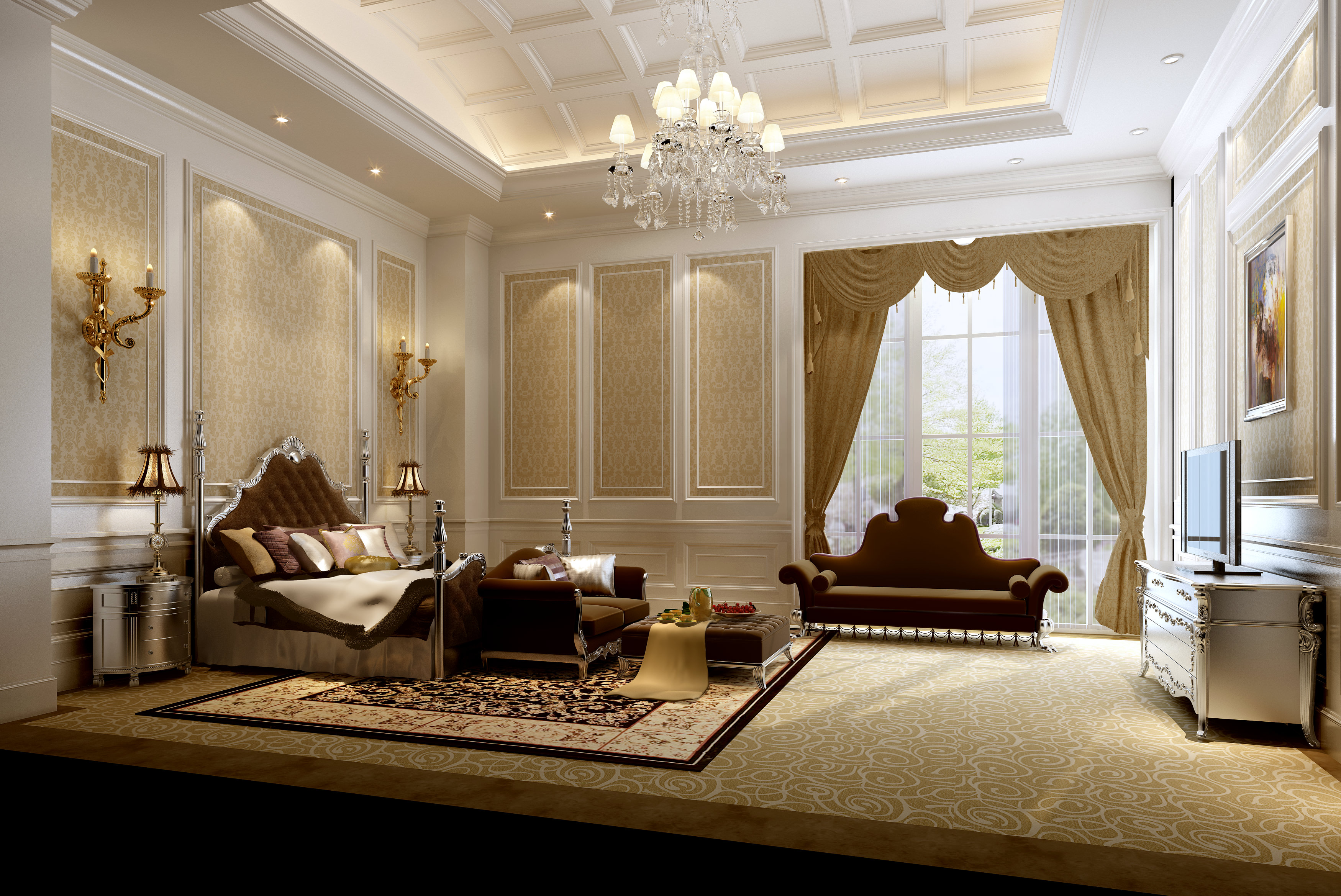 Very luxury bedroom 3d model max for Pics of luxury bedrooms