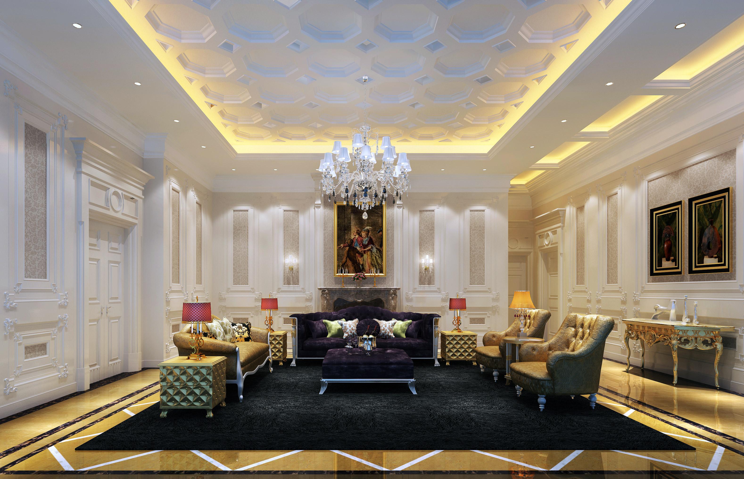 very luxury living room 3d model max 1 - Luxury Living Room Design