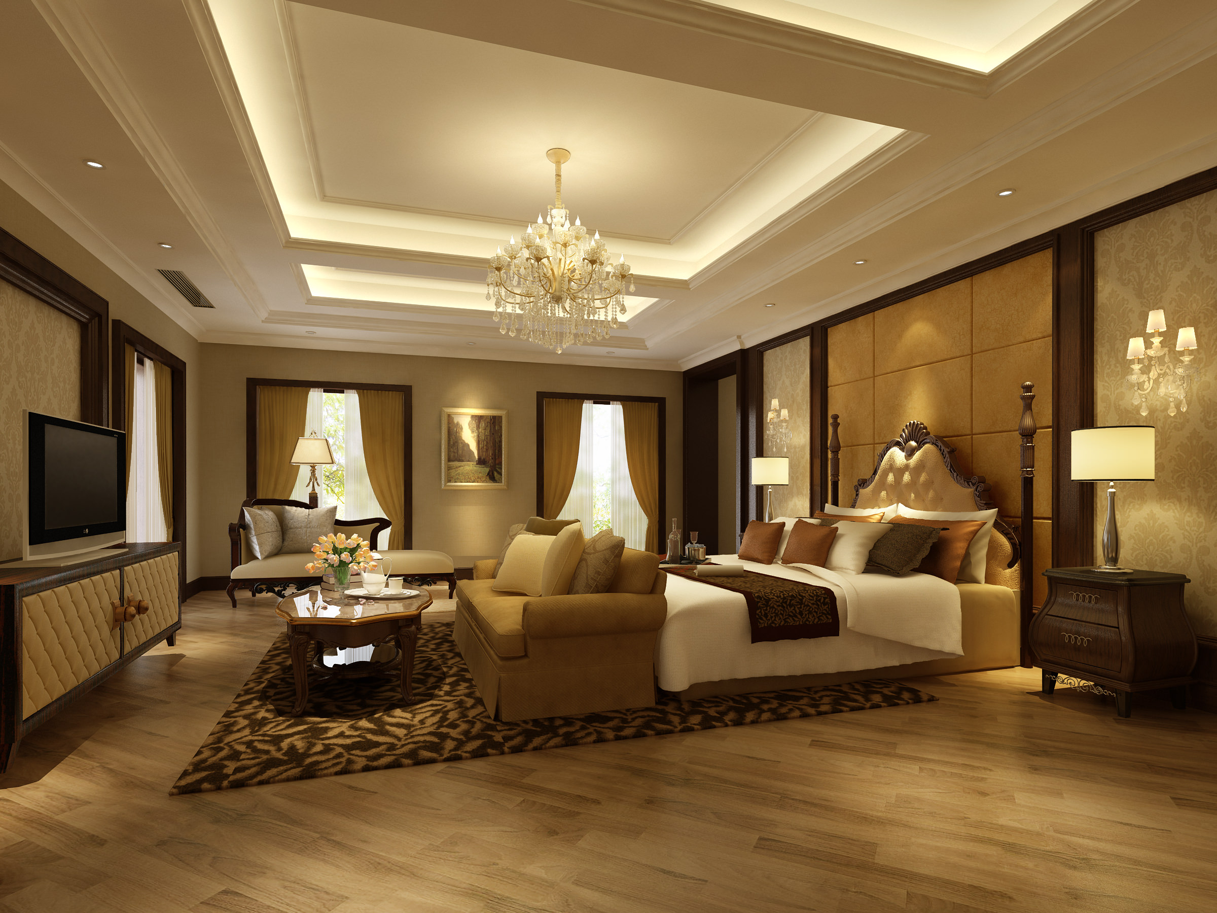 Bedroom or hotel room 3d model max 3d room interior