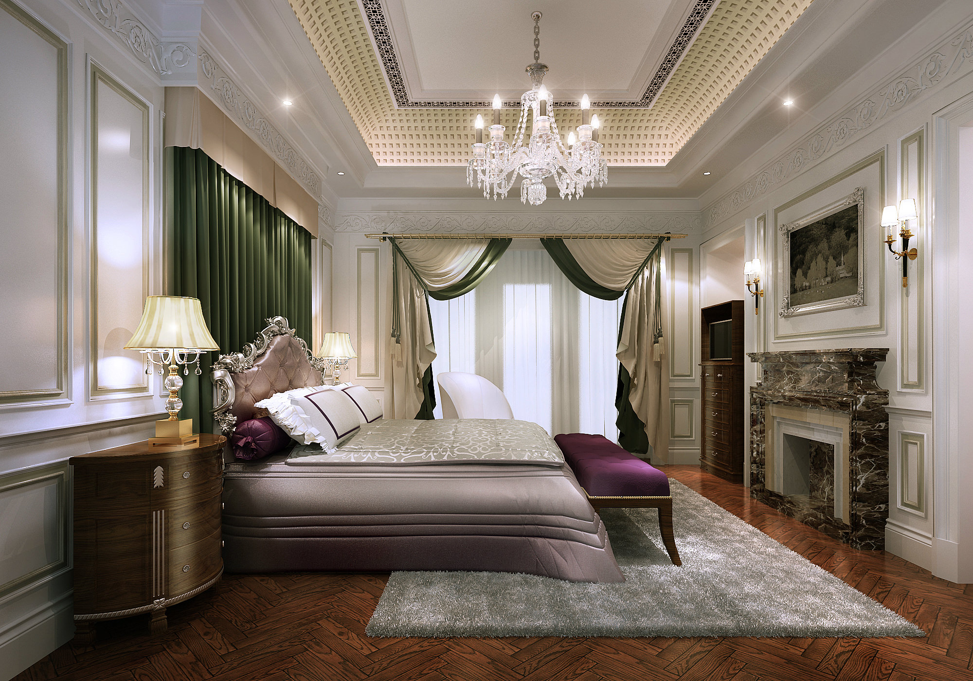 Elegant classic style bedroom 3d model max for Bedroom designs 3d model