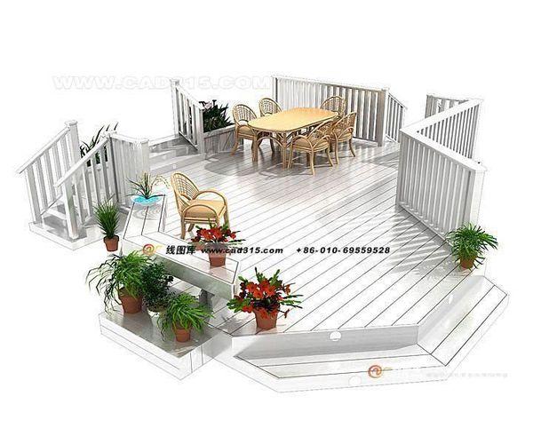 Stylish family home garden design 11 3d model 3ds for Home garden 3d design