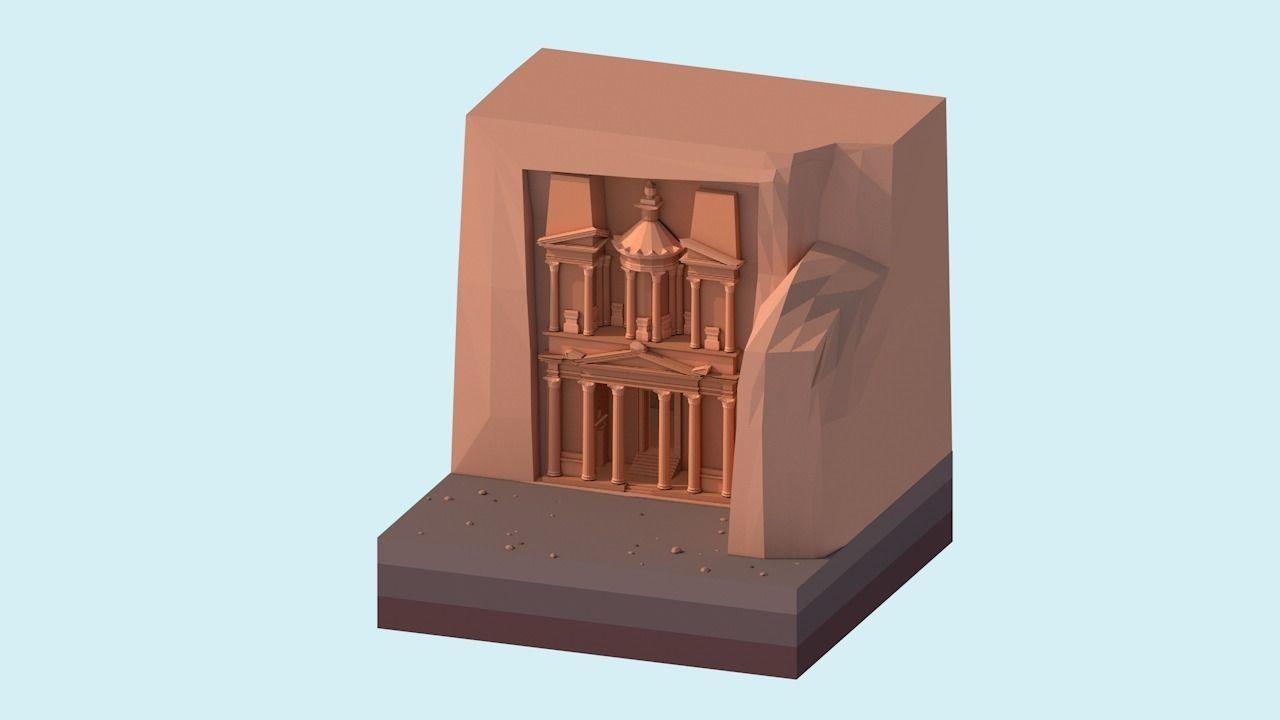 Cartoon Low Poly Petra Al Khazneh Temple
