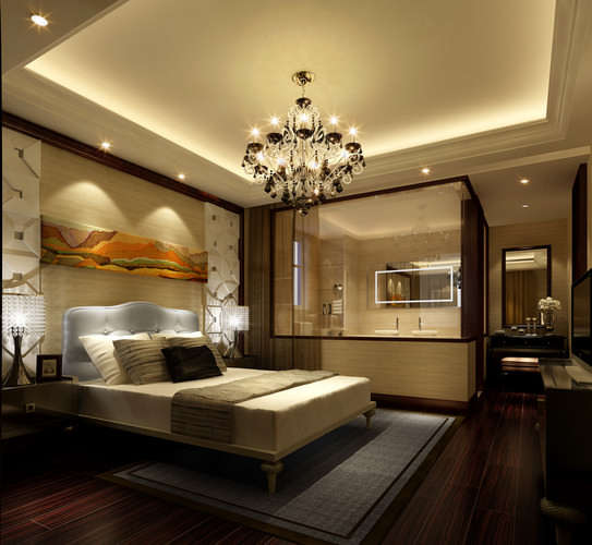 3d bedroom with bathroom luxury cgtrader for New model bathroom design