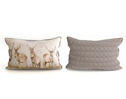 Voyage Cushion - Deers -Piped Pillow 3D