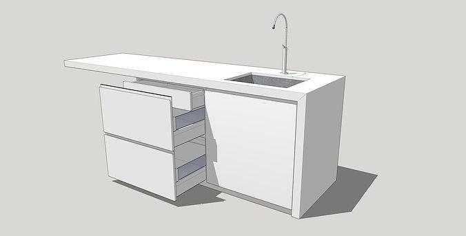 Kitchen 3d Model kitchen island 2 3d model   cgtrader