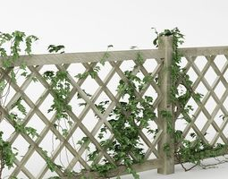 3D model Fence 01 with ivy