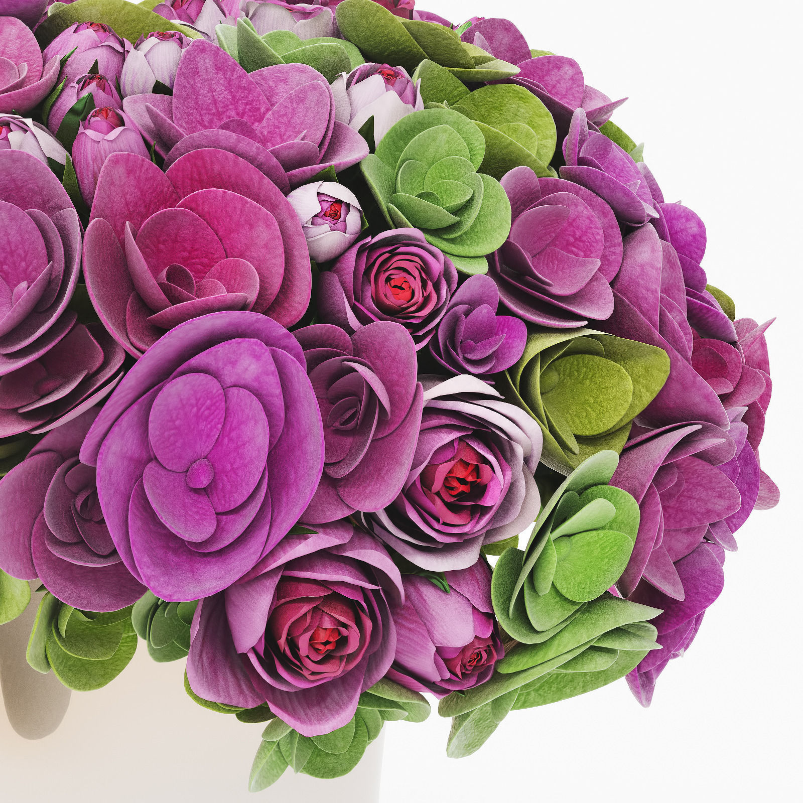 3D Bouquet of roses and hydrangea flowers   CGTrader