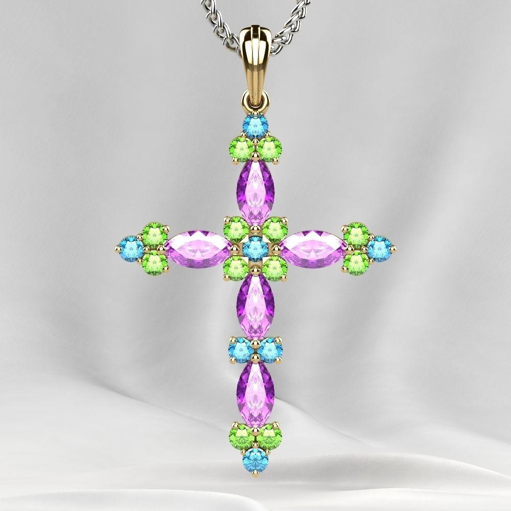 Gold Cross Pendant with Gemstones