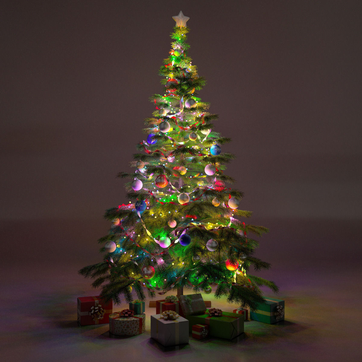 Model Of Christmas Tree: Christmas Tree With Gifts 3D Model .max .obj