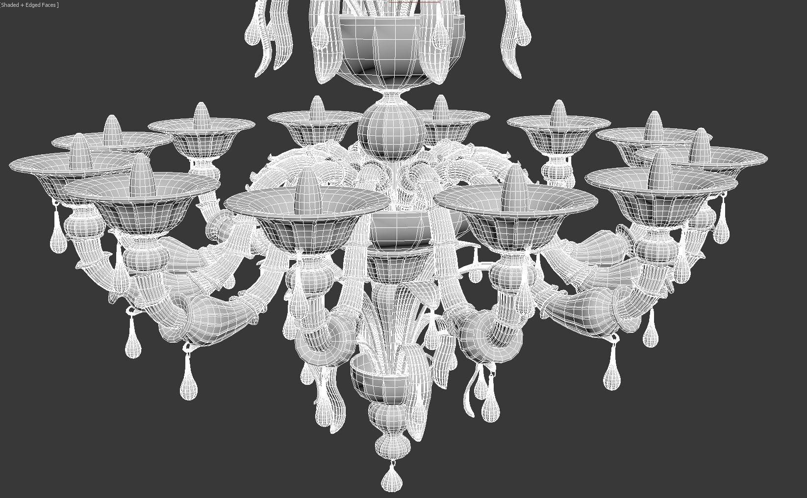 Paradiso White murano glass chandelier 3D Model MAX OBJ MTL – White Murano Chandelier