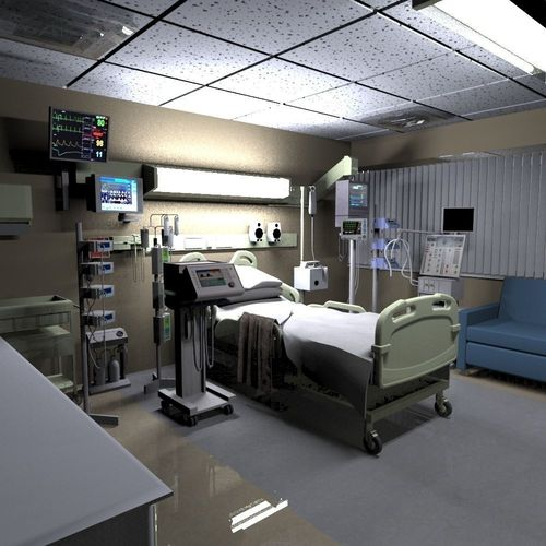 3d design hospital for Room modelling online