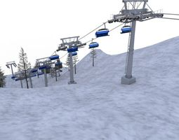 3D asset VR / AR ready ski lifts
